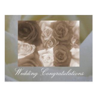 Cartão Postal Rosas do casamento vintage