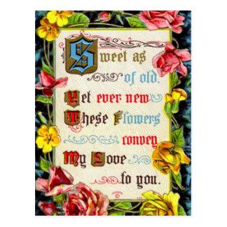 Cartão Postal Rosas e poema dos namorados