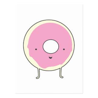 Cartão Postal Rosquinha do rosa da comida da sobremesa dos doces