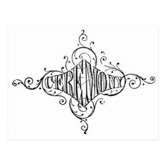 Cartão Postal roteiro do casamento da CERIMÓNIA da tipografia do
