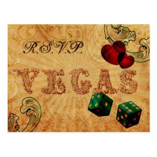 Cartão Postal rsvp do casamento de Vegas do vintage dos dados do