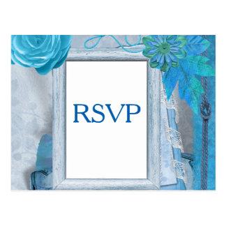 Cartão Postal RSVP Wedding azul