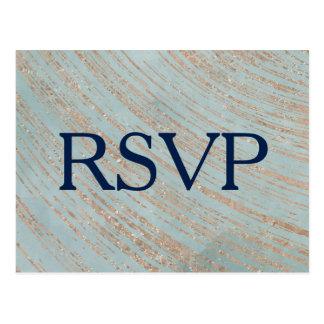 Cartão Postal RSVP Wedding de mármore de cobre e azul