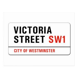 Cartão Postal Rua de Victoria, sinal de rua de Londres