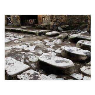 Cartão Postal Rua em Pompeii - pedras na rua