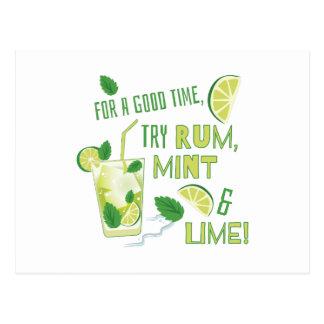Cartão Postal Rum, hortelã & limão da tentativa