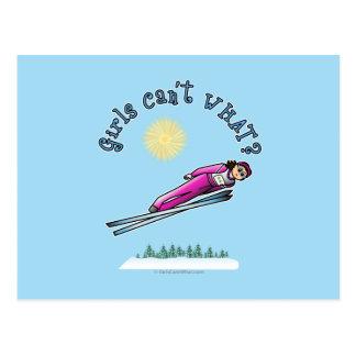 Cartão Postal Salto de esqui das mulheres claras
