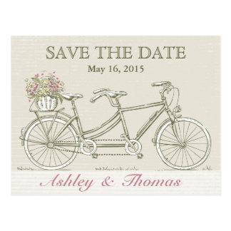 Cartão Postal Salvar a bicicleta do Tandem do vintage da data