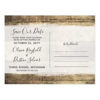 Cartão Postal Salvar a foto de madeira rústica do costume do