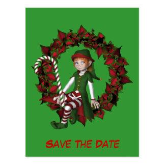 Cartão Postal Salvar o duende da data no feriado da grinalda