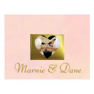 """Cartão Postal """"Salvar o grupo rosa pálido Wedding do vintage da"""