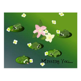 Cartão Postal Sapos preguiçosos em uma lagoa - faltando o