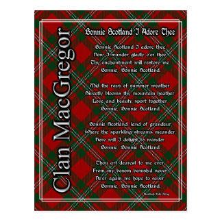 Cartão Postal Scotland Bonnie eu Adore o Tartan de MacGregor do