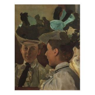 Cartão Postal Senhora de Konstantin Somov- no espelho