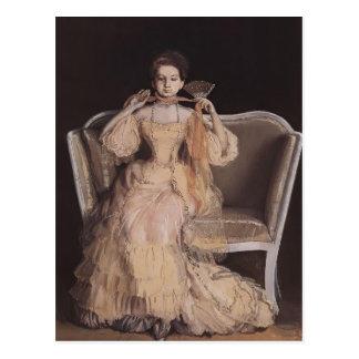 Cartão Postal Senhora de Konstantin Somov- no rosa