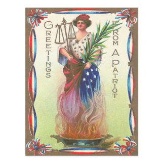 Cartão Postal Senhora Liberdade Eterno Chama Escamação de