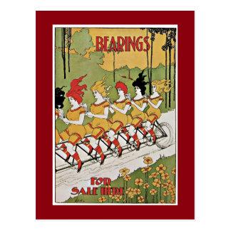 Cartão Postal Senhoras que montam a bicicleta do vintage