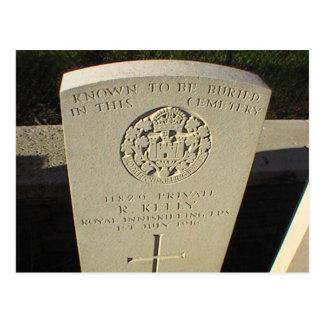 Cartão Postal Sepultura da guerra, Somme, Kelly privado