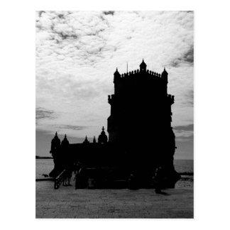 Cartão Postal Silhueta branca preta | Torre Belém da torre de