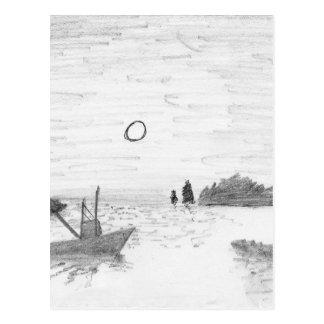 Cartão Postal silhueta do barco