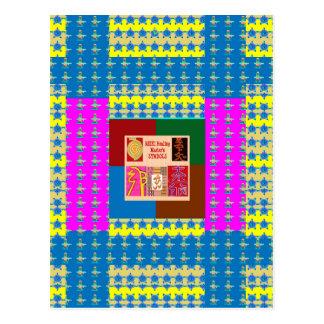 Cartão Postal Símbolos curas de REIKI na cor completa da mandala