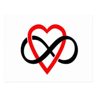 Cartão Postal Sinal dado forma coração da infinidade