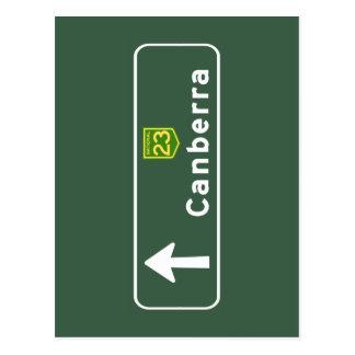 Cartão Postal Sinal de estrada de Canberra, Austrália