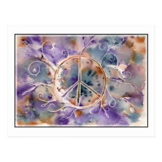 Cartão Postal Sinal de paz da aguarela