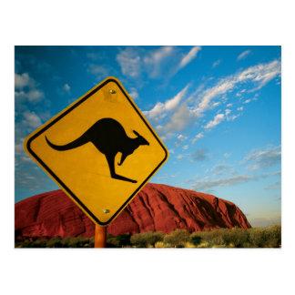 Cartão Postal sinal do canguru de rocha dos ayers