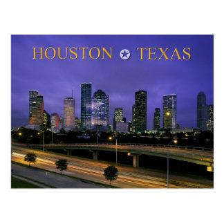 Cartão Postal Skyline de Houston, Texas no crepúsculo
