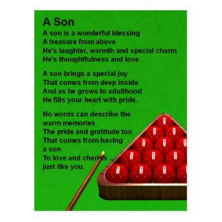 Cartão Postal Snooker - poema do filho
