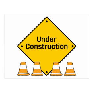 Cartão Postal Sob a construção com cones