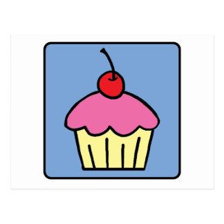Cartão Postal Sobremesa da cereja do glacé do cupcake do clipart