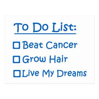 Cartão Postal Sobrevivente de câncer para fazer a lista