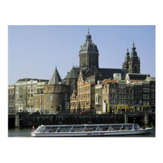 Cartão Postal St. Nicolaaskerk e a torre dos rasgos, Amsterdão