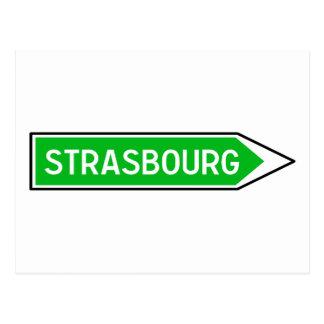Cartão Postal Strasbourg, sinal de estrada, France