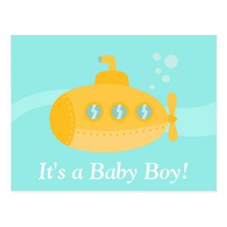 Cartão Postal Submarino amarelo bonito, seu um menino