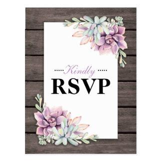 Cartão Postal Succulent rústico RSVP Wedding floral da aguarela