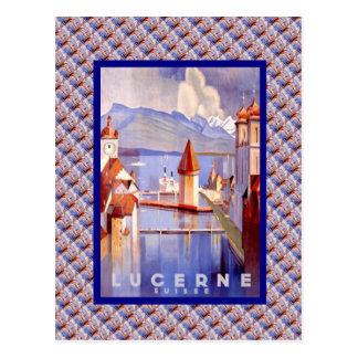 Cartão Postal Suiça do vintage, lucerna, pontes
