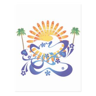 Cartão Postal Sun & surf!  Arte do vetor: