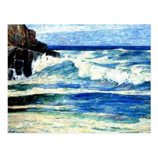 Cartão Postal Surf que quebra em rochas