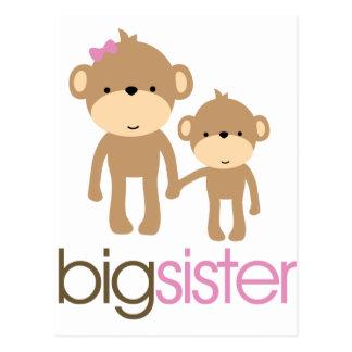 Cartão Postal T-shirt do anúncio da gravidez do macaco da irmã