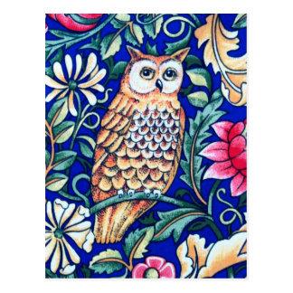 Cartão Postal Tapeçaria, bege e azuis cobaltos da coruja de