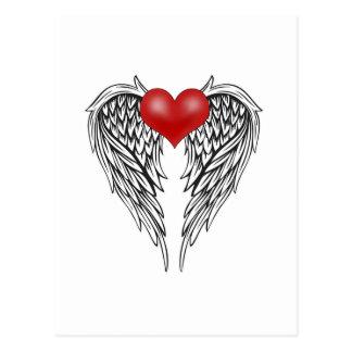 Cartão Postal Tatuagem do coração do anjo