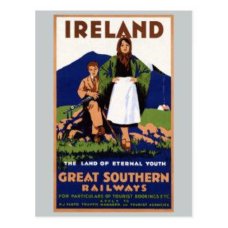 Cartão Postal Terra de Ireland do vintage eterno da juventude