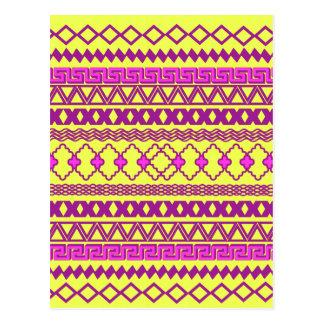 Cartão Postal Teste padrão asteca tribal cor-de-rosa amarelo de