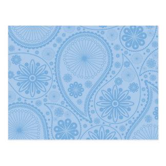 Cartão Postal Teste padrão azul de paisley
