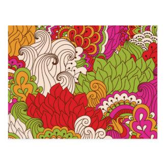 Cartão Postal Teste padrão boémio colorido do chique do hippy da