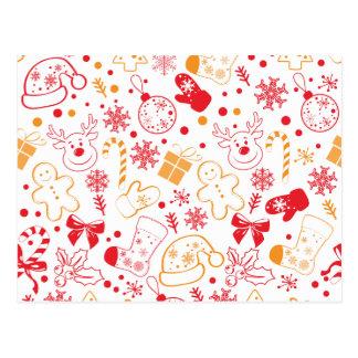 Cartão Postal Teste padrão colorido engraçado de Christmassy
