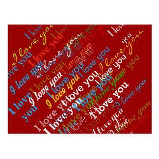 Cartão Postal teste padrão da cor do iloveyou